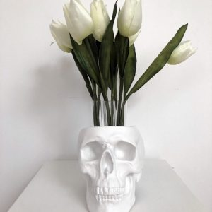 Gun Metal Test Tube Flower Skull by Haus of Skulls