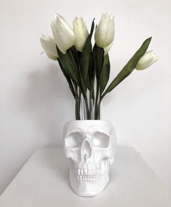 Gun Metal Test Tube Flower Skull by Haus of Skulls