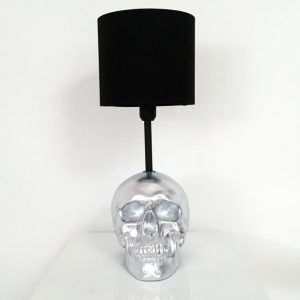 Handmade Silver Skull Lamp by Haus of Skulls