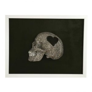 Handmade 3D Half Silver Rhinestone Skull With Black Glitter Heart On Plain Black Background Frame by Haus of Skulls