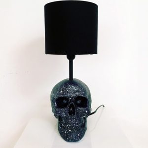 Handmade Black & Silver Splatter Lamp by Haus of Skulls