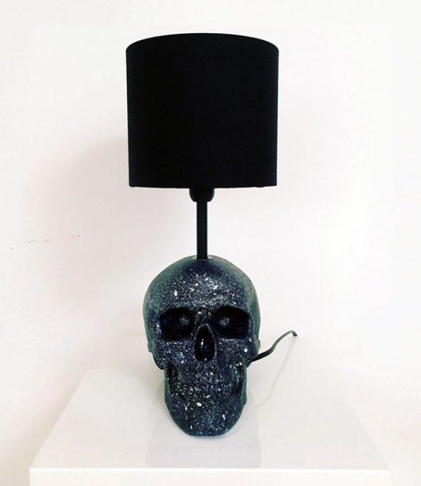 Handmade Black & Silver Splatter Lamp by Haus of Skulls