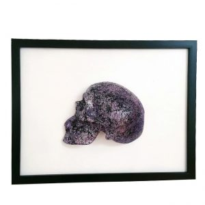 Handmade 3D Half Silver & Purple Toned (3 Shades) Splatter Skull With Marble Effect On Black & Purple Splatter Base Frame by Haus of Skulls