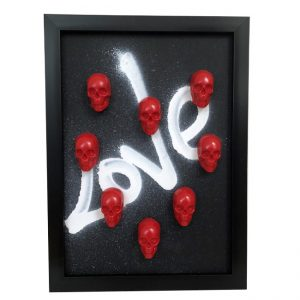 Handmade Skull Frame - Black Frame with Red Mini Plaster Skulls by Haus of Skulls