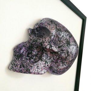 Handmade 3D Half Silver & Purple Toned (3 Shades) Splatter Skull With Marble Effect On Black & Purple Splatter Base Frame by Haus of Skulls
