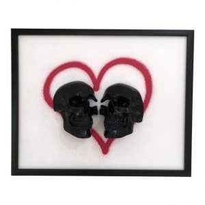 Handmade Love Skull 3D Frame by Haus of Skulls