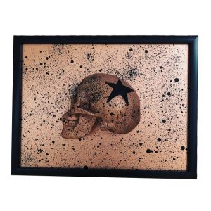 Handmade 3D Half Bronze Glitter & Black Splatter Skull With Black Glitter Star Frame by Haus of Skulls