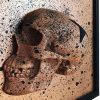 Handmade 3D Half Bronze Glitter & Black Splatter Skull With Black Glitter Star Frame by Haus of Skulls