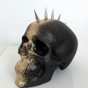 Black & Gold Mohawk Skull by Haus of Skulls