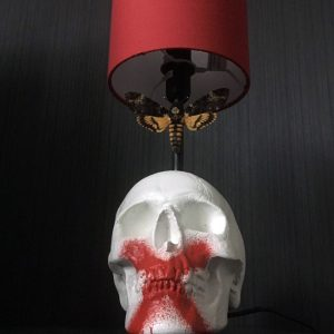 "Handmade ""Death Moth"" Skull Lamp by Haus of Skulls"