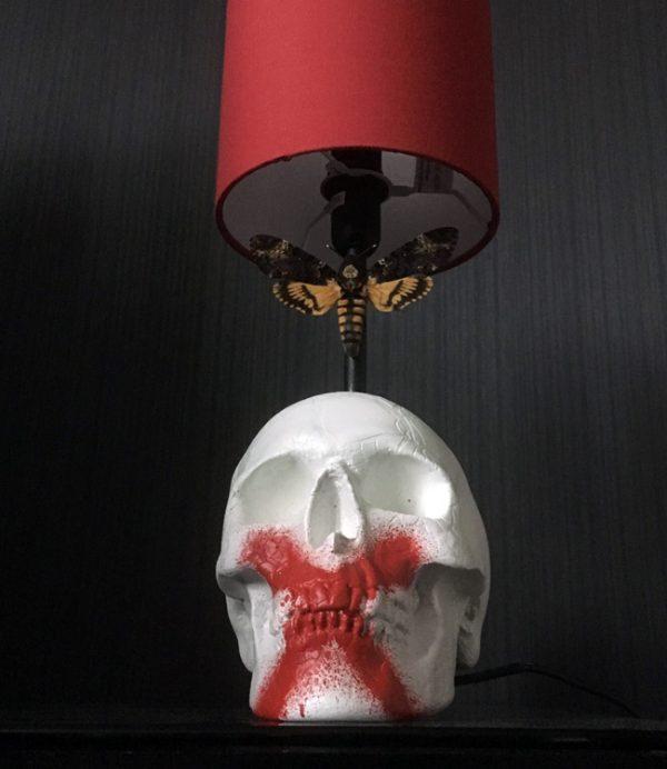 """Handmade """"Death Moth"""" Skull Lamp by Haus of Skulls"""