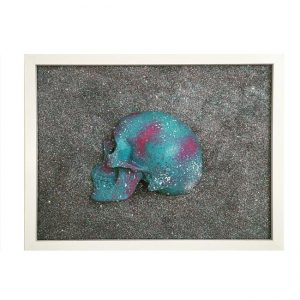 Handmade 3D Cyan, Plum And White Splatter Skull Frame by Haus of Skulls