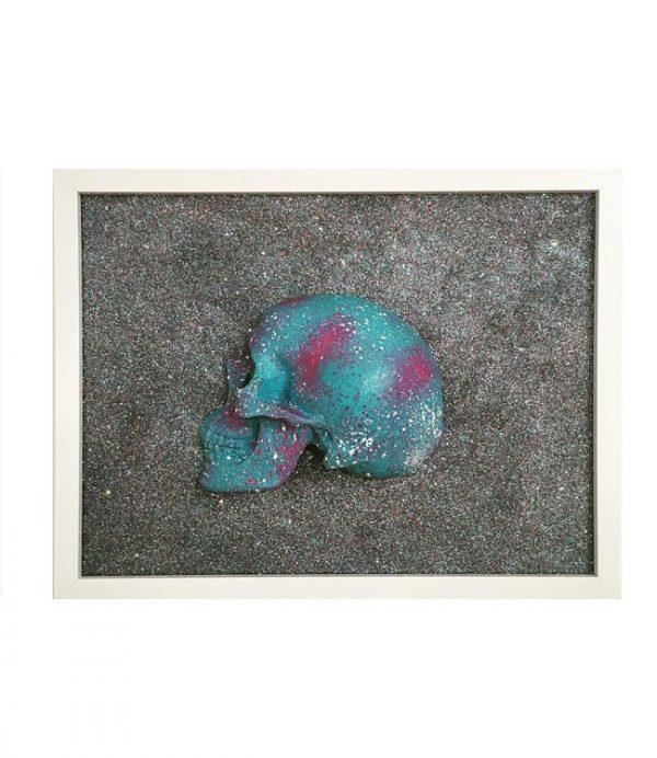 Handmade 3D Cyan, Plum And White Splatter Skull Frame by Haus of Skulls