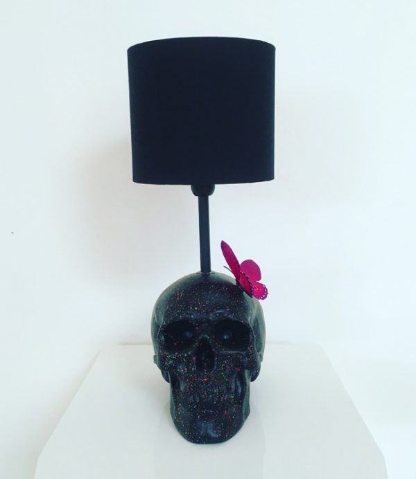 Handmade Butterfly Skull Lamp by Haus of Skulls