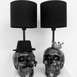 Mr & Mrs Handmade Skull Lamps by Haus of Skulls