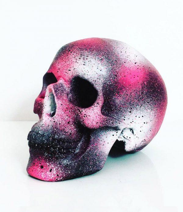 Black, White & Pink Splatter Skull by Haus of Skulls