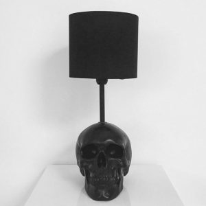 Handmade Black Skull Lamp by Haus of Skulls