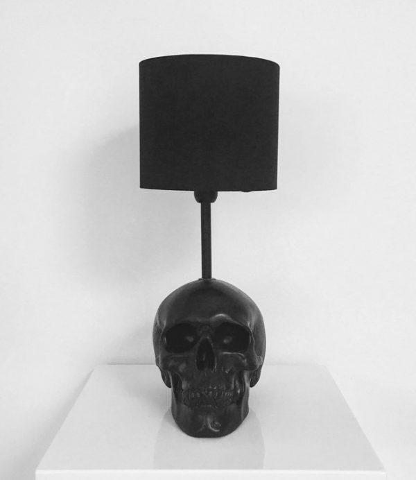 Handmade Black Skull Lamp by Haus of Skulls