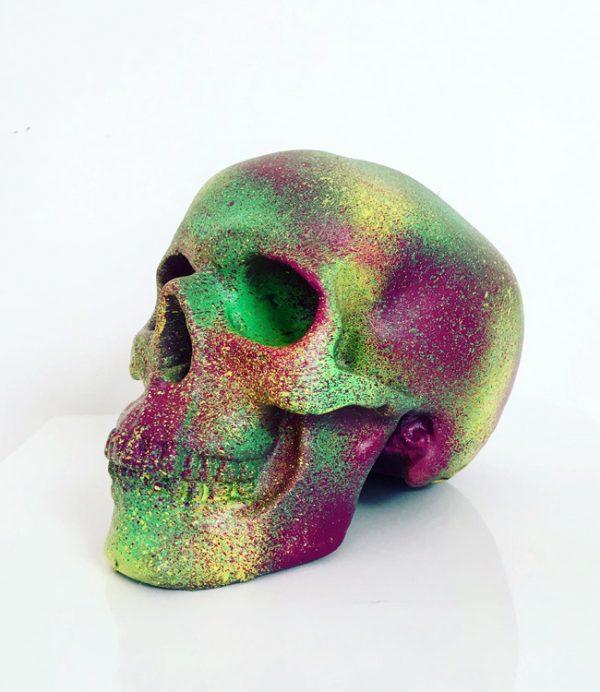 Plum, Yellow & Green Splatter Skull by Haus of Skulls