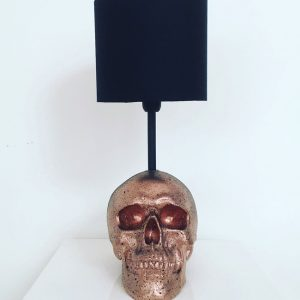 Handmade Rose Gold & Black Splatter Skull Lamp by Haus of Skulls