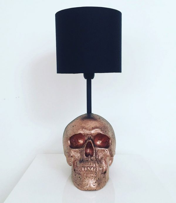 Handmade Rose Gold & Black Splatter Skull Lamp by Haus of Skulls