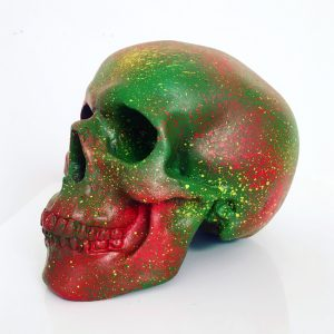 Red, Yellow & Green Splatter Skull by Haus of Skulls