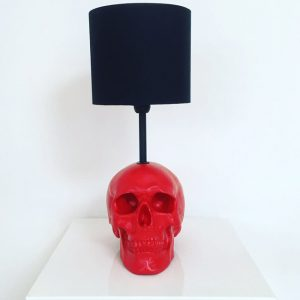 Handmade Red Skull Lamp by Haus of Skulls