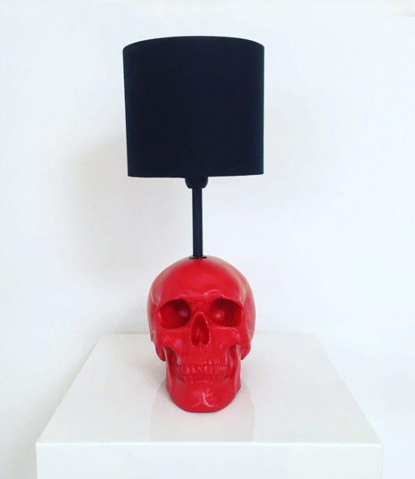 Handmade Red Skull Lamp by Haus of Skulls