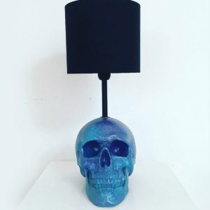 Handmade Turquoise & Purple Splatter Skull Lamp by Haus of Skulls