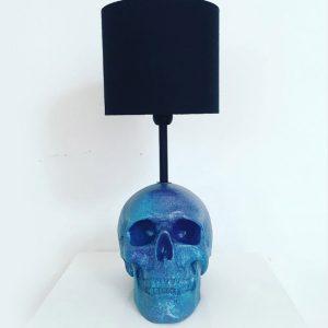 Handmade Turquoise & Purple Splatter Skull Lamp by Haus of Skulls