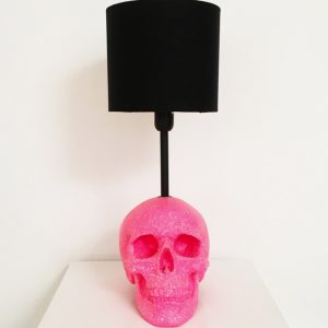 Handmade Neon Pink & White Splatter Skull Lamp by Haus of Skulls