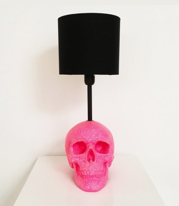 Handmade Neon Pink & White Splatter Skull Lamp by Haus of Skulls