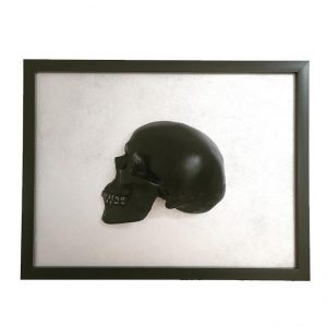 Handmade 3D Frame - Black Skull With Silver Rhinestone Teeth On Silver by Haus of Skulls