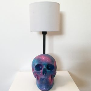 Handmade Purple, Turquoise, Pink & White Splatter Lamp by Haus of Skulls