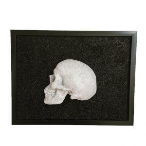 Handmade 3D Frame - Half Silver Glitter Skull On Black Glitter by Haus of Skulls