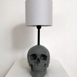 Handmade Grey Skull Lamp by Haus of Skulls