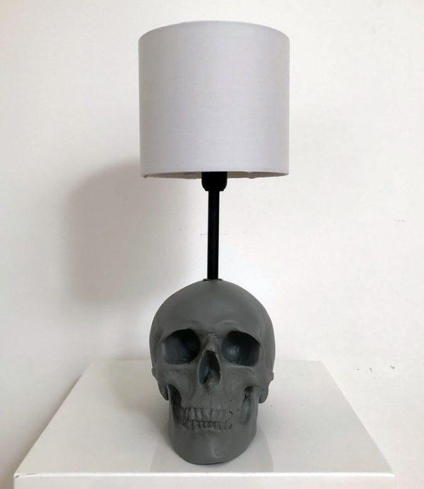 Handmade Grey Skull Lamp by Haus of Skulls