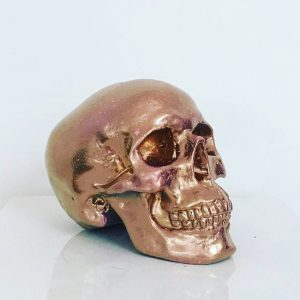 Gold & Baby Pink Splatter Skull by Haus of Skulls