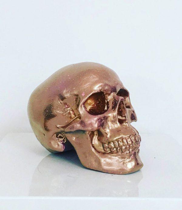 Gold & Baby Pink Splatter Skull by Haus of Skulls