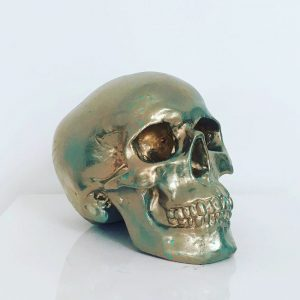 Green & Gold Splatter Skull by Haus of Skulls