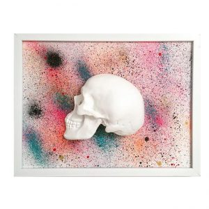Handmade 3D Frame - Half White Skull On Multi Coloured Splatter by Haus of Skulls