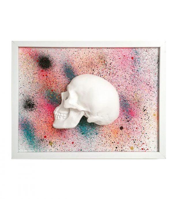 Handmade 3D Frame - Half White Skull On Multi Coloured Splatter by Haus of Skulls