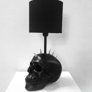 Handmade Mohawk Skull Lamp by Haus of Skulls
