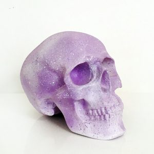 White & Lilac Splatter Skull by Haus of Skulls