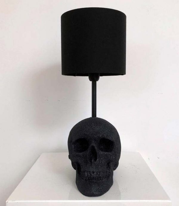 Handmade Glitter Skull Lamp by Haus of Skulls