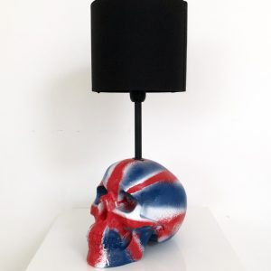 Handmade Union Jack Skull Lamp by Haus of Skulls