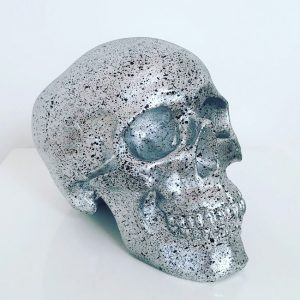 Silver & Black Splatter Skull by Haus of Skulls