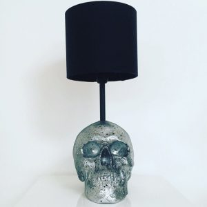 Handmade Silver & Black Splatter Lamp by Haus of Skulls