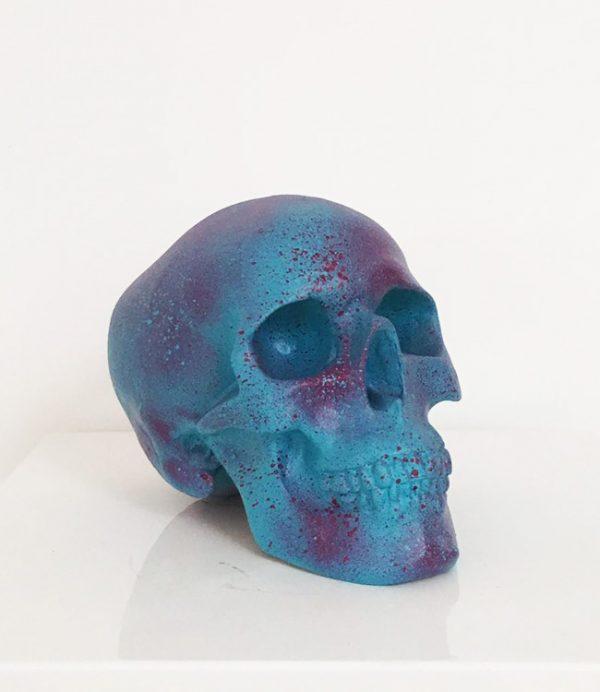 Turquoise & Plum Splatter Skull by Haus of Skulls