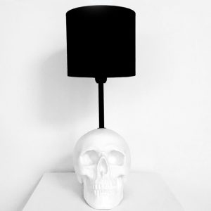 Handmade White Skull Lamp by Haus of Skulls